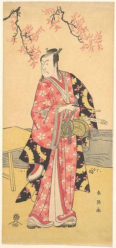 The Actor Ichikawa Monosuke II as Chivalrous Commoner  Katsukawa Shun'ei  (Japanese, 1762–1819)  Period: Edo period (1615–1868) Date: ca. 1790 Culture: Japan Medium: Polychrome woodblock print; ink and color on paper