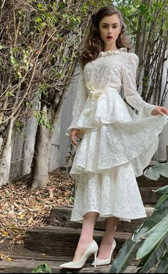 Lily Collins Style, Lace Midi Dress, Tiered Dress, Red Carpet Fashion, Beautiful Actresses, White Lace, Celebrity Style, Girl Fashion, Outfits
