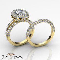 Oval Diamond Halo Pave Engagement Ring GIA H SI1 Bridal Set 14k White Gold 4 ct