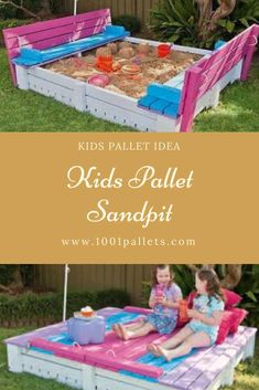 If you have kids and a large backyard this project is perfect for your kids and we know they will absolutely love it! It's a self-contained sandpit with a lid that doubles as seats when opened. Pallet Projects Signs, Pallet Crafts, Projects For Kids, Diy For Kids, Recycling Projects, Diy Projects, Sand Pits For Kids, 1001 Pallets, Recycled Pallets