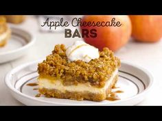 Caramel Apple Cheesecake Bars are made with a shortbread crust, a creamy cheesecake layer, cinnamon baked apples, and an oatmeal crumble topping! Caramel Apple Cheesecake Bars, Cheesecake Recipes, Cookie Recipes, Dessert Recipes, Desserts, Oatmeal Crumble Topping, Smiths Bakery, Slow Cooker Apples, Fall Baking