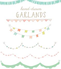 Clip Art - Hand Drawn Garlands, Bunting Flags: 44 images for $6  {Angie Makes}