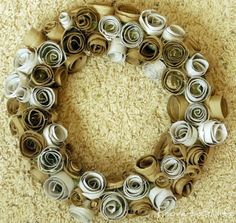 Toilet paper roll wreath from Proverbs 31 Life.  Practically free.  I like practically free.