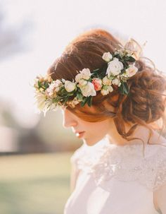 Beautiful side swept #wedding #hair // By Amy Chan Hair & Makeup, Photographed Jenny Sun, Floral Crown by Chanele Rose Flowers & Event Styling // A Whimsical Garden Wedding featured at www.modernwedding.com.au/blog