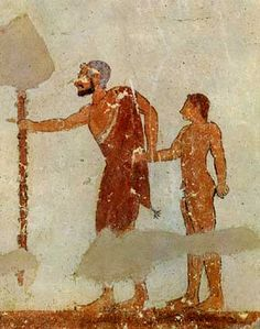 Italy - Lazio - Tarquinia (Viterbo) - Etruscan man with child from Tomba dei Giocolieri Ancient Rome, Ancient Greece, Ancient Art, Ancient History, Art History, Rome Painting, Mural Painting, Carthage, Fresco
