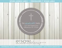 Baptism Return Address Labels : Christening Return Address Labels - Religious Theme Return Address Label - Round Label - R101 by KMThomasDesigns on Etsy