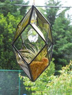 3D Hanging Stained Glass Terrarium by connysstainedglass on Etsy, $35.00