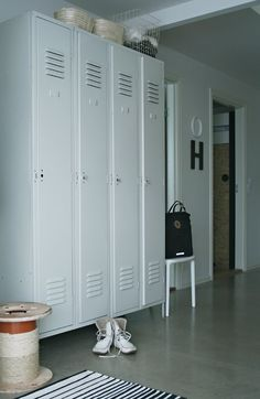 we have red lockers for toys, now we need white lockers for coats.