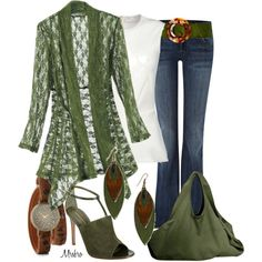 """""""Jeans and Greens"""" by mrsbro on Polyvore - fashion genie please place this outfit in my closest!"""