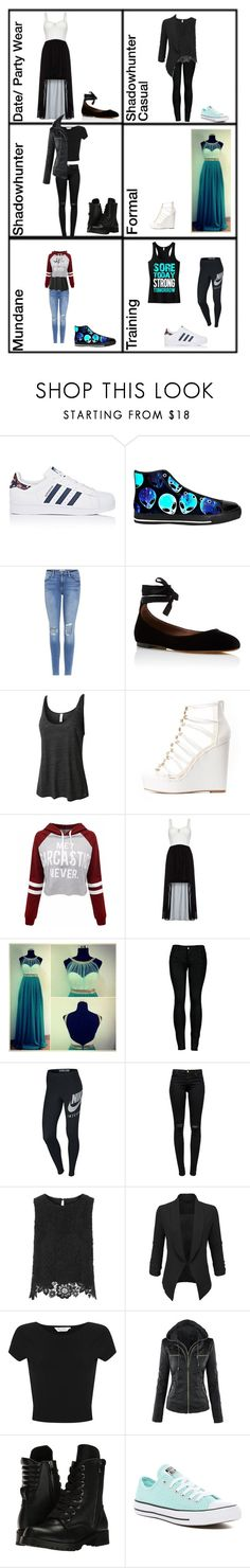 """""""My life in Shadowhunters"""" by teenriverliar98 on Polyvore featuring adidas, Frame, Tabitha Simmons, LE3NO, Charlotte Russe, WithChic, Quiz, 2LUV, NIKE and J Brand"""