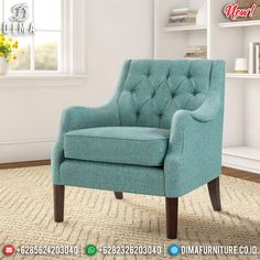 Epic Desain Sofa Minimalis Single Seater New Luxury Furniture Jepara MMJ-0818 Wingback Armchair, Sofa, Armchairs, Blue Accent Chairs, Living Room Arrangements, Dusty Blue, Luxury Furniture, Side Chairs, Living Room Furniture