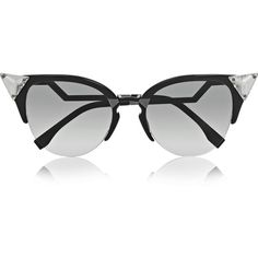 Fendi Crystal-embellished cat-eye acetate sunglasses ($485) ❤ liked on Polyvore featuring accessories, eyewear, sunglasses, glasses, очки, black, black cateye glasses, cateye sunglasses, uv protection sunglasses and cat eye sunglasses