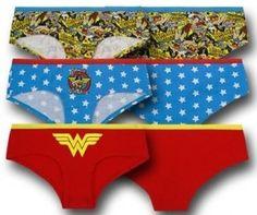 Wonder Woman underwear for women. 3 fun pairs of Wonder Woman briefs.