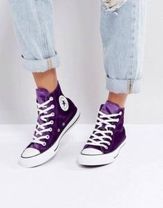 ff87e16904e8 Purple Converse High Top Kicks Eggplant Plush Velvet w  Swarovski Crystal  Bling Rhinestone Jewel Chu