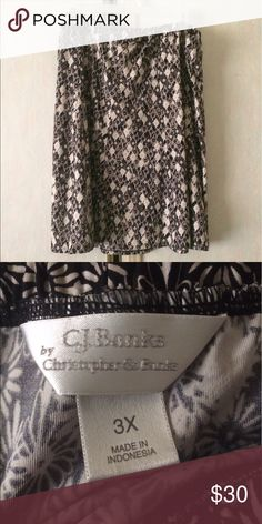 🆕 (3X) NWOT Christopher Banks Floral Skirt *Brand: Christopher Banks *Color: Black, White and Gold. *Condition: New without tags *Material: Unsure *Size: 3X *Waist Size: Approximately 43 inches. Very stretchy.  *Length: Approximately 25 inches long.   ♥ I am from a smoke free home.  ♥ I have cats and a dog. I always make sure my clothing is fur free, but sometimes there could be a stray hair or two left. Christopher & Banks Skirts