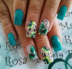 New nature green art inspiration Ideas Butterfly Nail Art, Flower Nail Art, Beautiful Nail Designs, Beautiful Nail Art, Nail Art Papillon, Acrylic Nail Designs, Nail Art Designs, Cute Nails, Pretty Nails