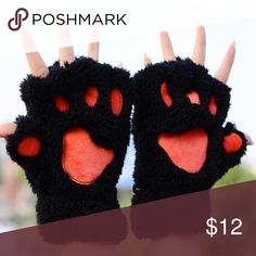 """😻 Kitty Paw Fingerless Gloves 😻 Very soft and so cute! Width: 4.7"""" Length: 7.3"""" Accessories Gloves & Mittens"""