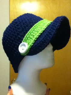 Seahawks Brim Hat, kids, child, adult, hats, nfl, sports, blue, green, button, brim,  www.facebook.com/kellyscrazycrafts
