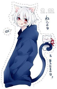 Mafumafu neko >v< Anime Neko, Kawaii Anime, Anime Manga, Anime Art, Yandere, Anime Guys Shirtless, Neko Boy, Anime Drawing Styles, Pikachu