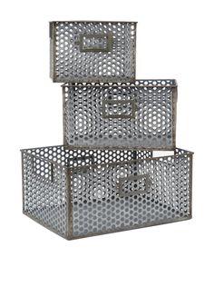 Three Hands Set of 3 Metal Baskets at MYHABIT