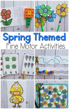 Spring fine motor activities.  These are perfect for preschool fine motor activities in the spring.  These are also great kindergarten activities.  Occupational therapists will love these fine motor activities!