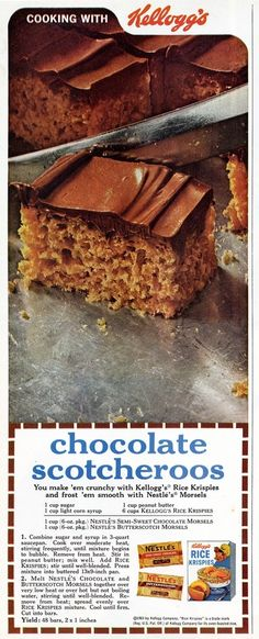 Kelloggs Chocolate Scotcheroos using Rice Krispies and chocolate chips Vintage Recipe Ad 1965 - My mom used to make these. They are delicious and now i can keep the recipe Retro Recipes, Vintage Recipes, Vintage Food, 1950s Recipes, Retro Food, Vintage Cooking, Retro Ads, Simple Recipes, Vintage Ads