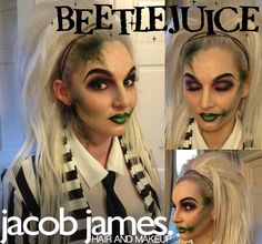 Beetlejuice hair and makeup for Halloween