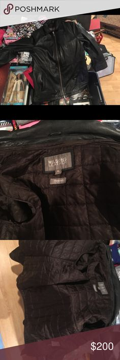 Men's Xl Wilson's leather jacket great condition I have a gently used men's size XL Wilson's leather jacket. I'm looking to get $200 (negotiable). Like new condition and has a brown removable vest for insulation inside . Wilsons Leather Jackets & Coats
