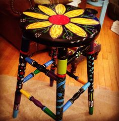 #PressedOak Whimsical painted barstool. This is what happens when chalk paint bores you. #painted #upcycle