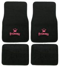 Pink Princess Car Floor Mat Set, girly car accessory available at CarDecor.com.