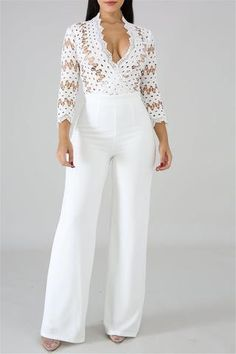 White Patchwork Lace Deep V-neck High Waisted Banquet Party Wide Leg Long Jumpsuit Rompers Women, Jumpsuits For Women, Jumpsuit Outfit, Long Jumpsuits, Playsuits, Fashion Seasons, Fashion Boutique, Ideias Fashion, Fashion Outfits