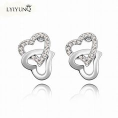 Click to Buy    Romantic Fashion Temperament Heart Crystal Stud Earrings  For Women 8f2cf6b2c72
