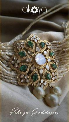 Bridal jewelry polki jewellery designs ideas for 2019 Indian Wedding Jewelry, Indian Jewelry, Bridal Jewellery, Pearl Jewelry, Beaded Jewelry, Bead Jewellery, Silver Jewelry, Silver Rings, Pearl Earrings