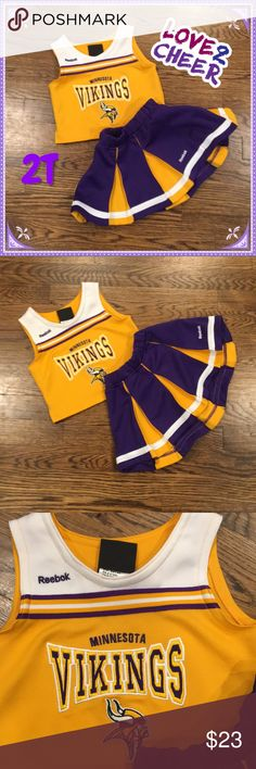 Minnesota Vikings Cheer Skirt Set Gold sleeveless top with the Minnesota Vikings logo on it and a Reebok logo on the right shoulder. It comes with a purple and gold elastic waist cheer skirt with a white hem and Reebok logo on it. Excellent used condition. Reebok Matching Sets