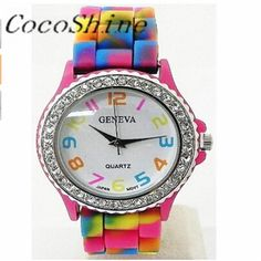 CocoShine A-787  New !New Rainbow Crystal Rhinestone Watch Silicone Jelly Link Band wholesale Free shipping #Affiliate