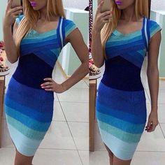 Sweetheart Neck Ombre Short Sleeve Dress For Women