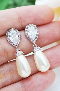 Swarovski Pearl Tear Drops Bridal Earrings Bridesmaid Earrings from EarringsNation