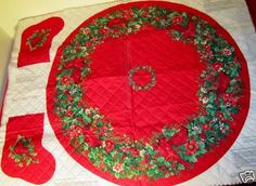 Fabric Panel Pre Quilted Christmas Tree Skirt Stocking Cardinals Holly New | eBay