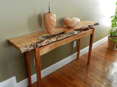 """""""Figured Maple"""" natural live edge table and turnings"""