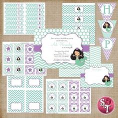 Mermaid Birthday Party Collection - Party Printables - All Products