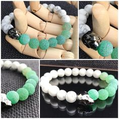 Skull Bracelet with Crackled Apple Green Agate and White Frosted Howlite by MarshyrJewelleryAU on Etsy Beaded Jewelry, Beaded Bracelets, Unique Jewelry, Men's Jewellery, Beaded Skull, Crystal Skull, Skull Bracelet, Green Agate, Agate Beads