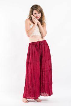 Pleated Cotton Palazzo Pants in Red