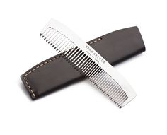 The No. 1827 Pocket Comb is your classic traditional pocket comb but made out of metal. The comb features 18 course teeth and 27 fine teeth. The comb is made with the highest grade of 410 stainless steel offering both exceptional wear and corrosion resistance. Each comb comes with a Leather hand-stitched sleeve, made with Full-Grain premium Horween® Chromexcel® Leather.