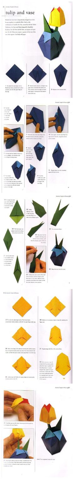 Origami Tulip and Vase Folding Instructions Paper Origami Flowers, Origami Paper Folding, Origami Envelope, Origami Butterfly, Gato Origami, Origami And Kirigami, Diy Origami, Origami Instructions, Origami Tutorial