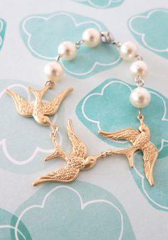 Three Gold Sparrows Bracelet - Swarovski Cream Pearl Bracelet, Triple Birds, Bridal Bracelet, Garden Wedding Bracelet, Party Bracelet,  by GlitzAndLove, www.glitzandlove.com