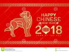 Happy Chinese New Year 2018 Card With Gold Dog Line Stripe Abstract On Red Background Vector Design Stock Vector - Image: 91177865
