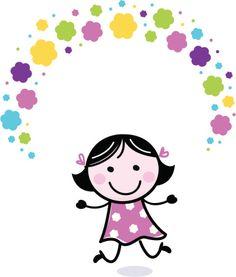 Linda garota malabarismo com flores de doodle - ilustração de arte em vetor