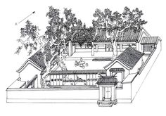 A classic Chinese residence with verandas and rooms fully open to the courtyard Ancient Chinese Architecture, China Architecture, Architecture Drawings, Classical Architecture, Architecture Design, Japanese Architecture, Chinese Courtyard, Interior Design History, Asian House