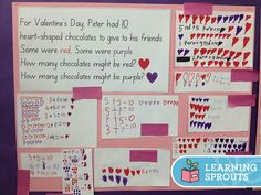 Open ended mathematics task with a Valentine's Day theme. Students need to calculate different ways to make 10, using addition.
