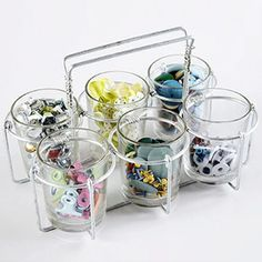Craft Room Idea: Turn a candleholder into a storage station #officespace #roomdesign #craftroom #craft #room #idea #decor #cube #storage #organization  #scrapbook #scrapbooking #stamping #sewing #smallspace